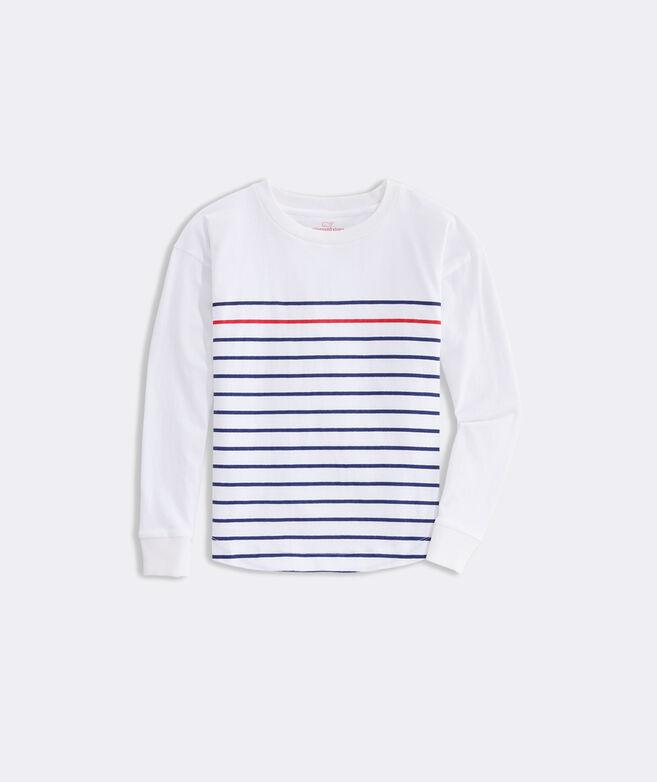 Girls' Striped Curved Hem Boxy Tee