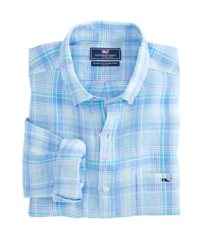 Moore's Island Plaid Classic Linen Tucker Shirt