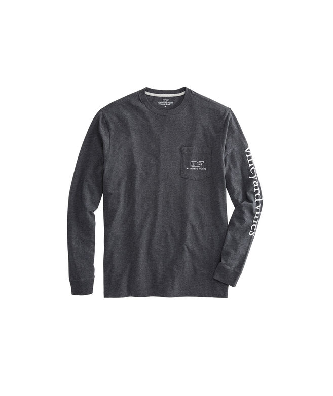 Long-Sleeve Heathered Vintage Whale Pocket T-Shirt