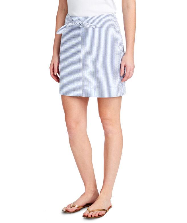 Seersucker Tie Front Skirt