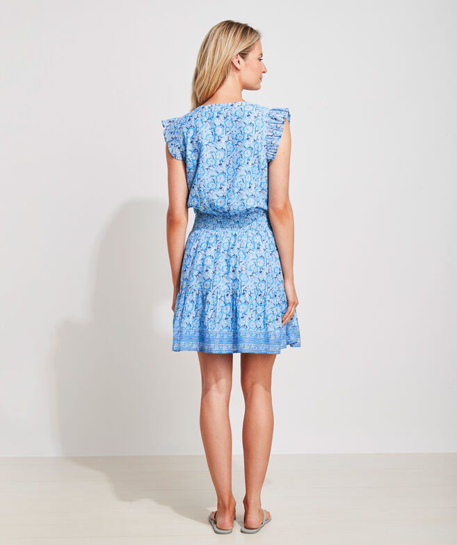 Frangipani Floral Smocked Waist Dress