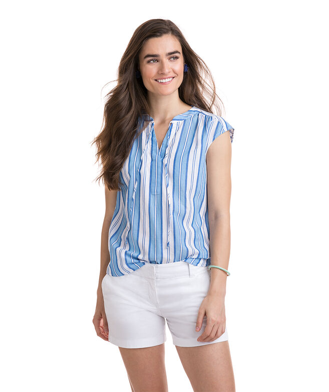 Short-Sleeve Ocean Stripe Popover