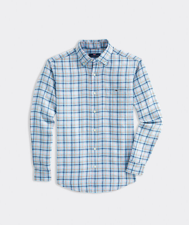 Classic Fit Plaid Shirt in Linen