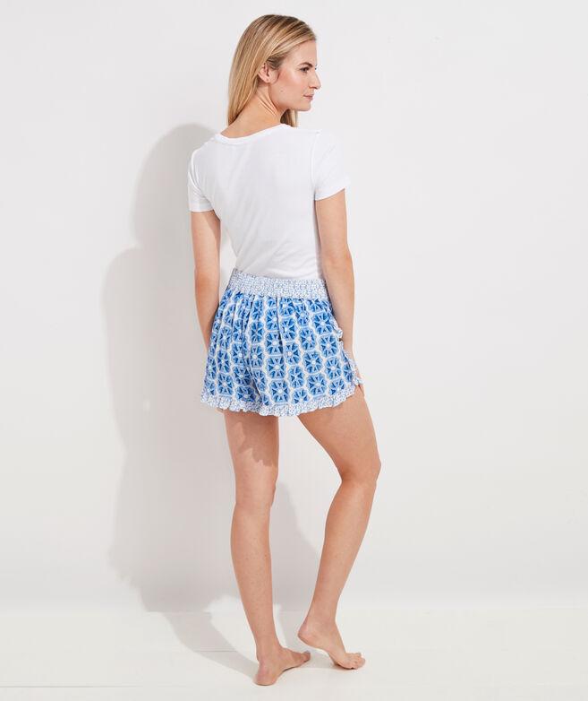 Watercolor Geo Print-Mix Ruffle Shorts