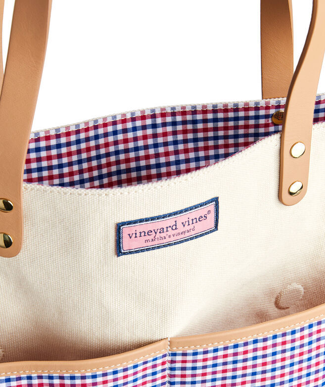 Gingham Pocket Canvas Tote