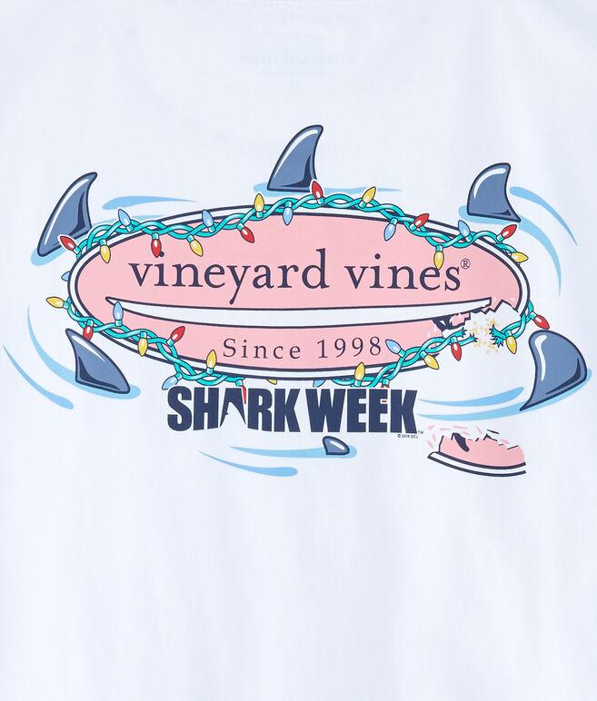 Long-Sleeve Shark Week Circling Sharks Lit Surfboard T-Shirt