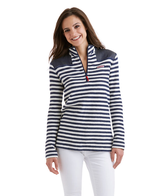 Stripe Reverse Terry Relaxed Shep Shirt