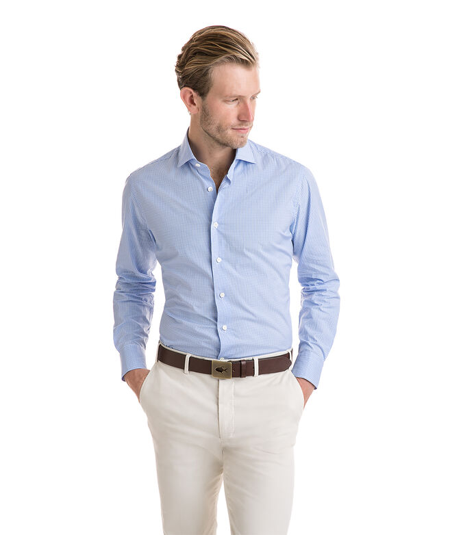 Shop blue gingham spread collar greenwich shirt at for Men s spread collar shirts