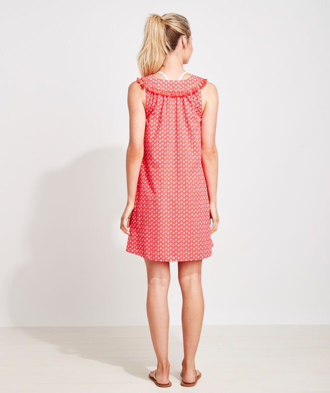 Tile Print Embroidered Coverup