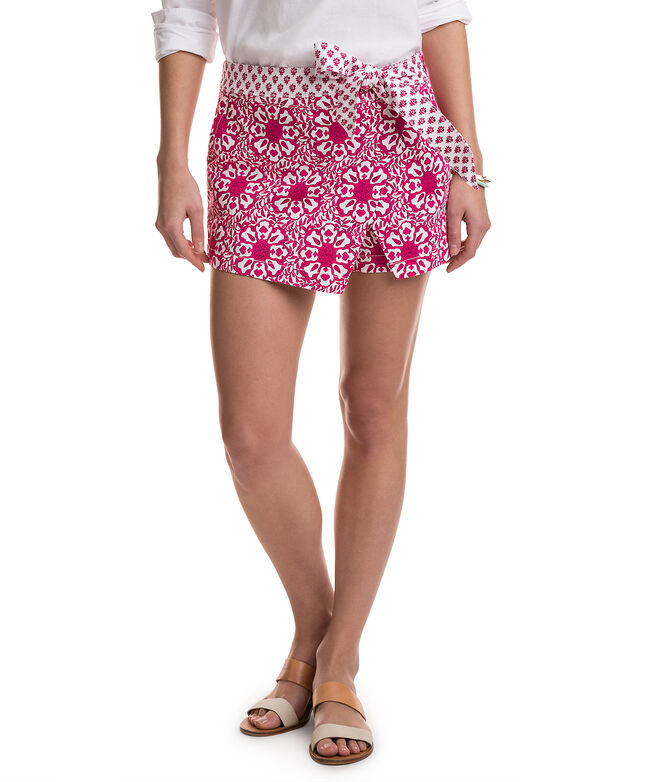 Tile Medallion Printed Crossover Skort
