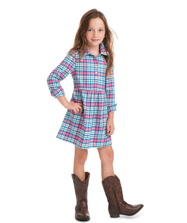 Girls Piper Plaid Flannel Shirt Dress