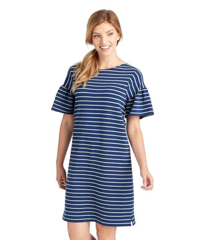 Stripe Flutter Sleeve Knit Dress
