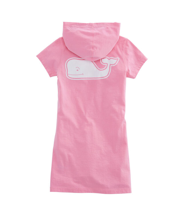 Girls Short-Sleeve Whale Hoodie Pocket Tee Dress