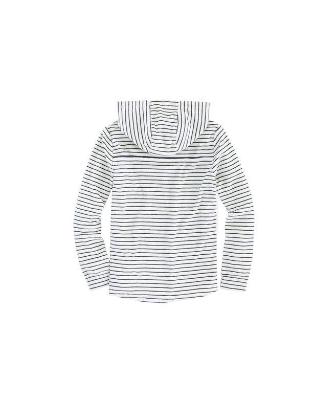 Girls Striped Velour Hoodie Shep Shirt