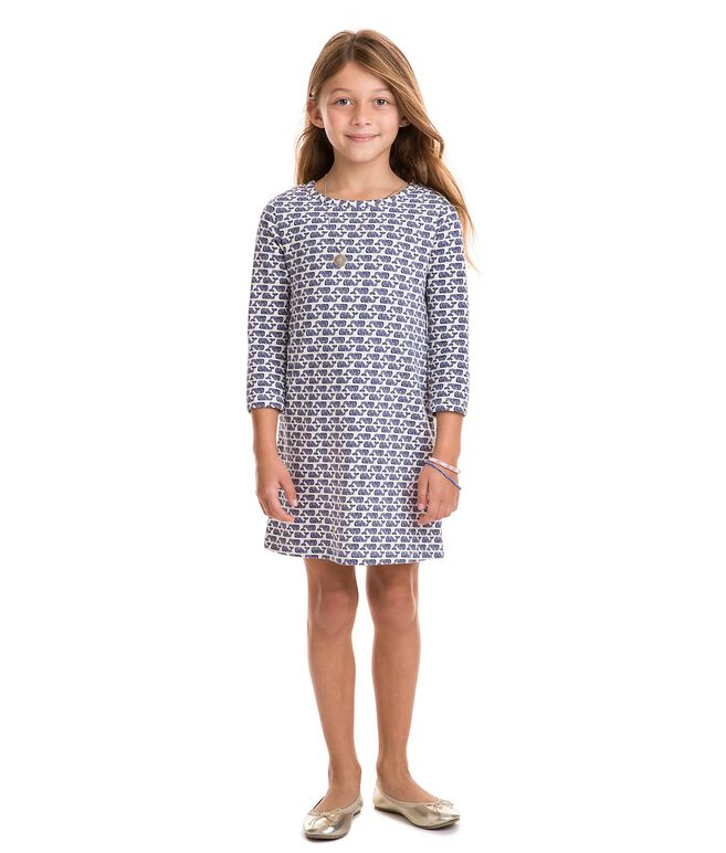 Girls Etched Whale Knit Dress