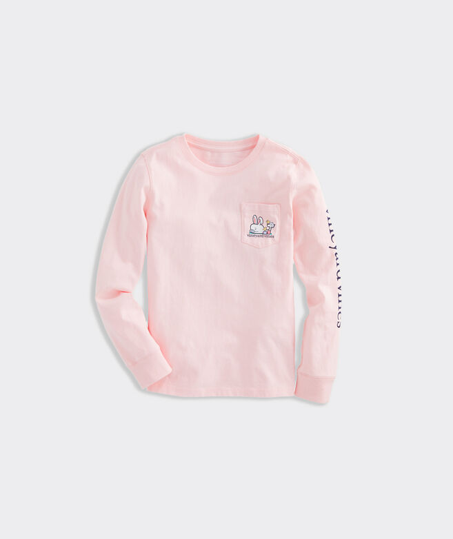 Girls' Hoppy Easter Whale Long-Sleeve Pocket Tee
