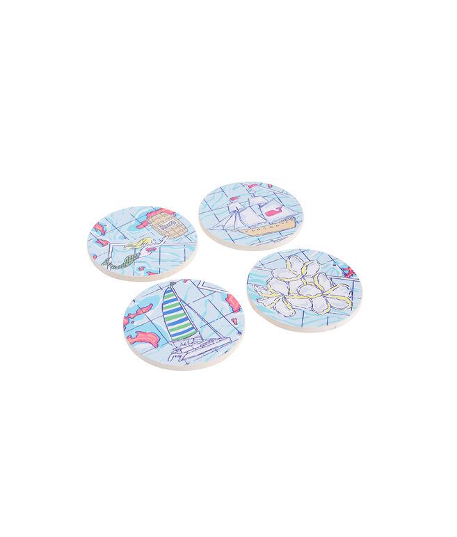 Island Map Ceramic Coaster Set 4