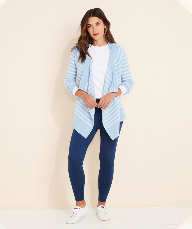 Lofty Cashmere Striped Open-Front Cardigan