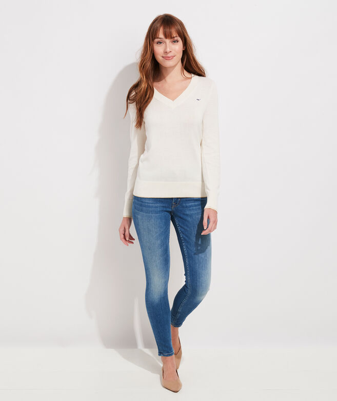 Lurex Heritage Cotton V-Neck Sweater