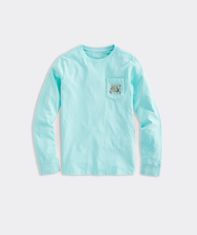 Boys' Long-Sleeve Garment Dyed Tropical Fish Pocket Tee