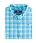 Boys Point Plaid Poplin Whale Shirt