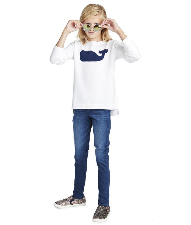 Girls Whale Intarsia Sweater