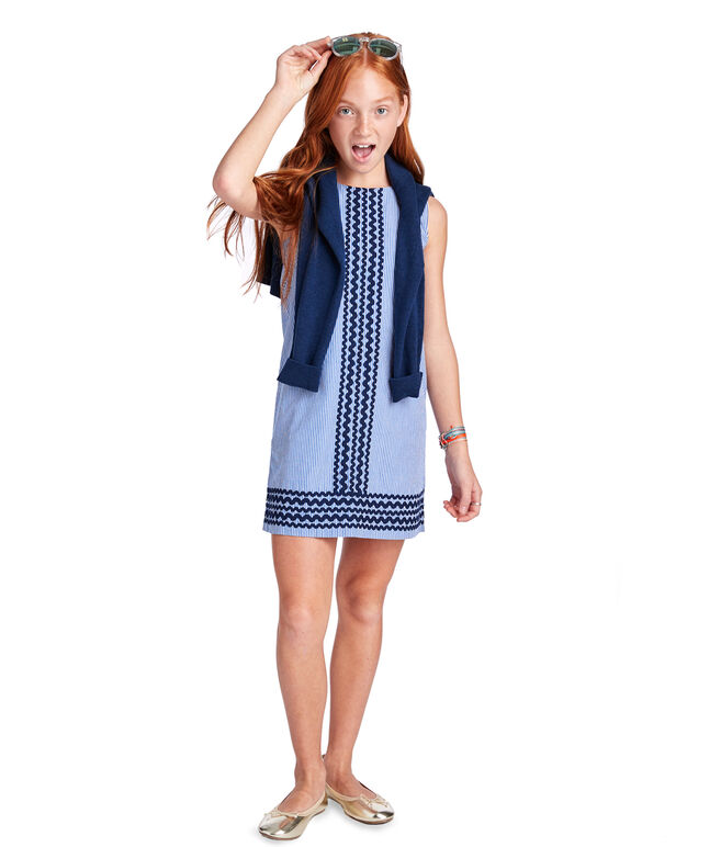 Girls Ric Rac Stripe Vineyard Shift Dress