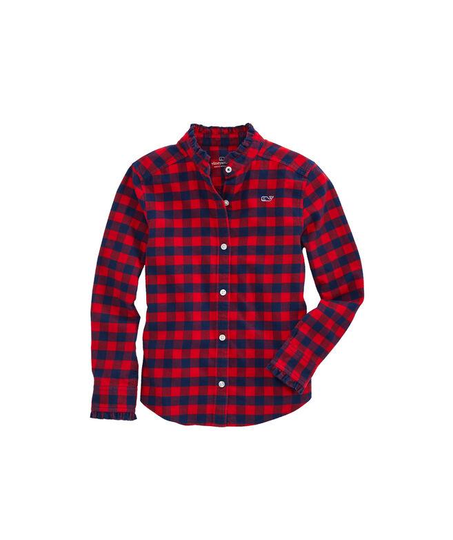 Girls Lighthouse Gingham Flannel Button Down Shirt