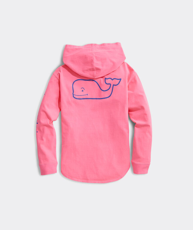 Girls' Vintage Whale Curved Hem Long-Sleeve Hoodie Tee