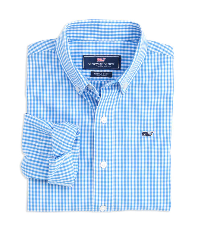 Boys Classic Gingham Whale Shirt