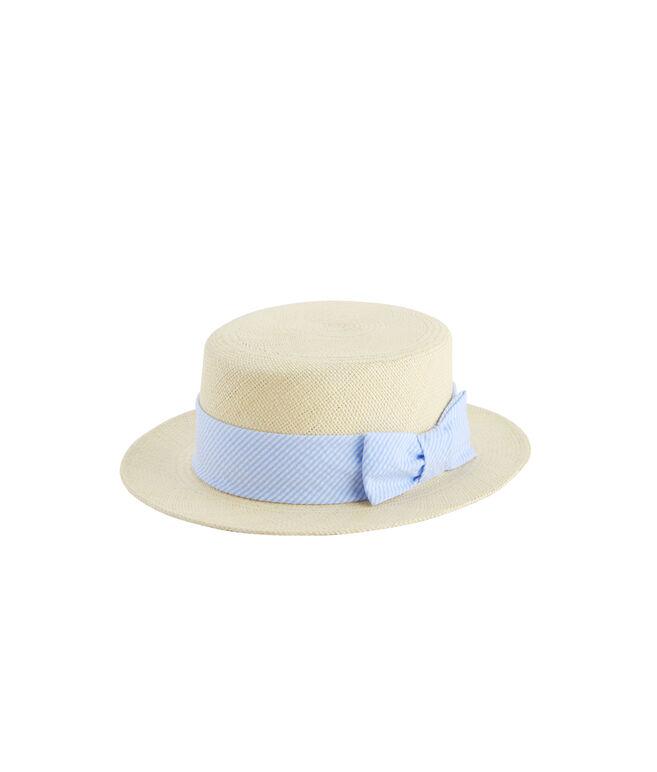 Seersucker Straw Derby Hat