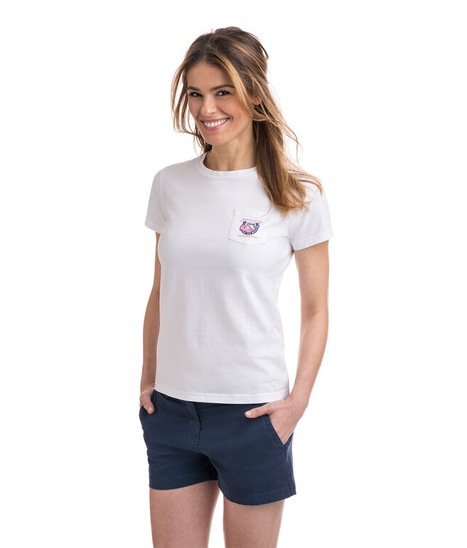 Kentucky Derby Whale Patchwork Pocket Tee