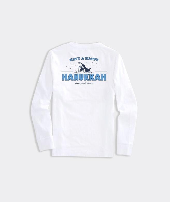 Kids' Limited-Edition JAWS x vineyard vines Happy Hanukkah Long-Sleeve Pocket Tee