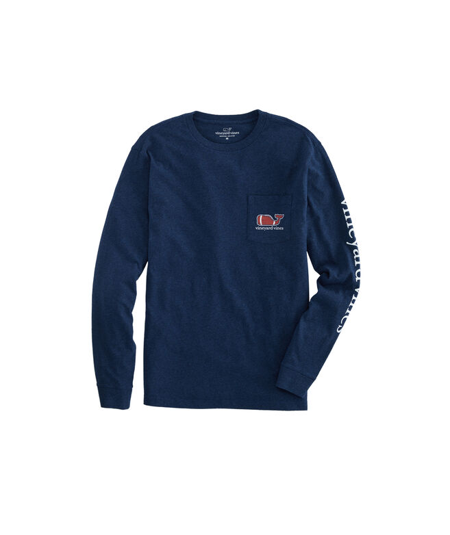 Football Whale Long-Sleeve Pocket Tee