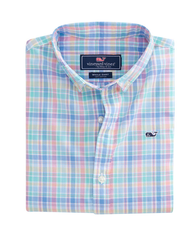 Boys Walker's Cay Plaid Whale Shirt