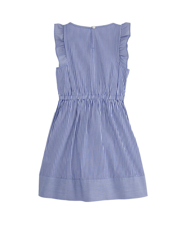 Girls Mixed Stripe Flutter Sleeveless Dress