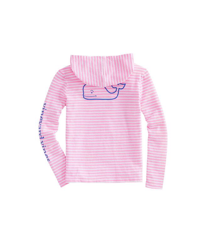 Girls Long-Sleeve Whale Stripe Hoodie Tee