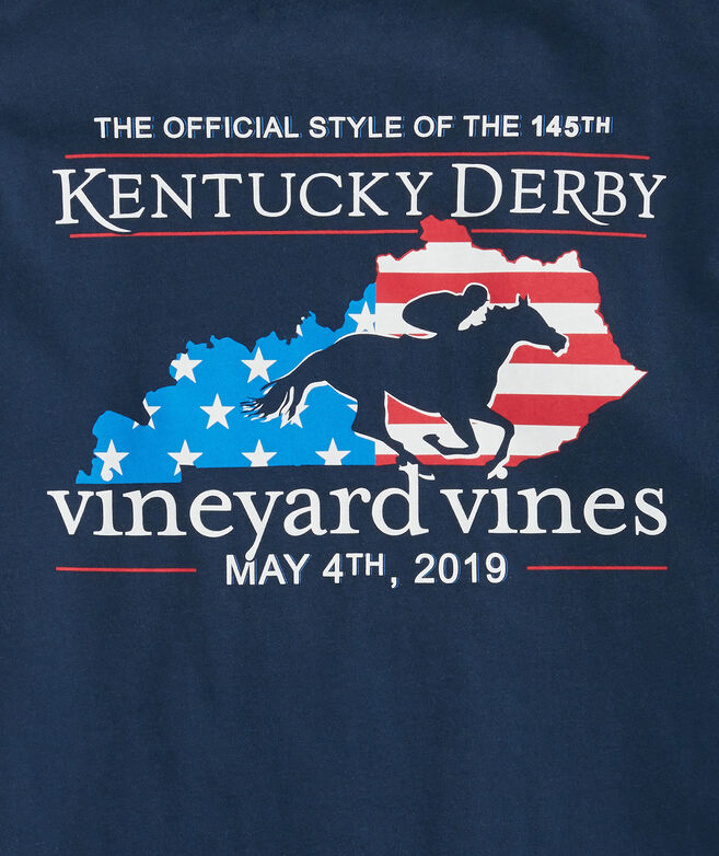 Kids Kentucky Derby Derby Flag Pocket T-Shirt
