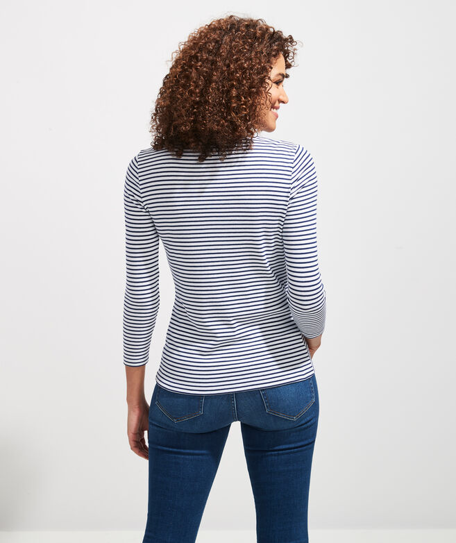 Striped Simple Crewneck Long-Sleeve Tee