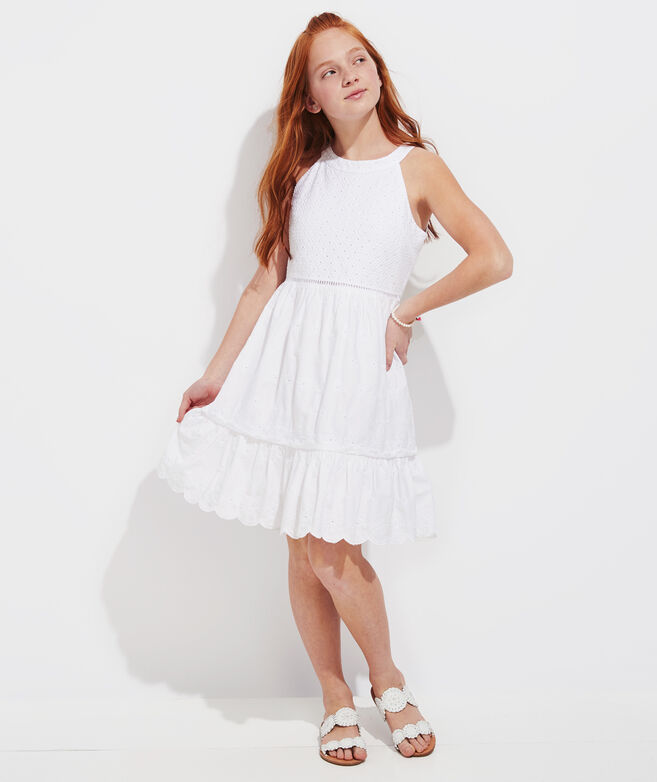 Girls' White Embroidered Tiered Dress