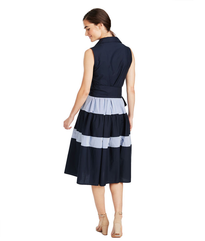 Sleeveless Tiered Shirt Dress