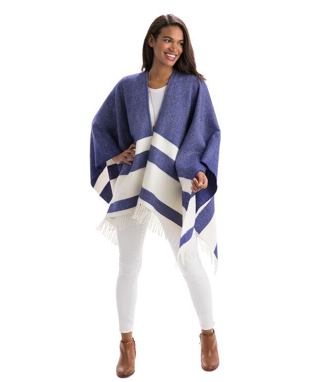 Stripe Print Wool Cape