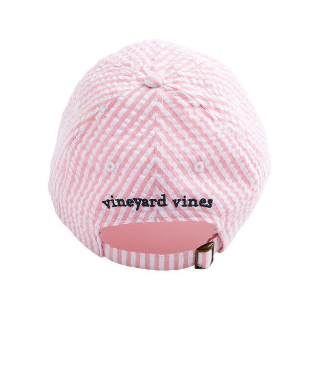 678530ba2a4 Shop Pink Seersucker Logo Hat at vineyard vines