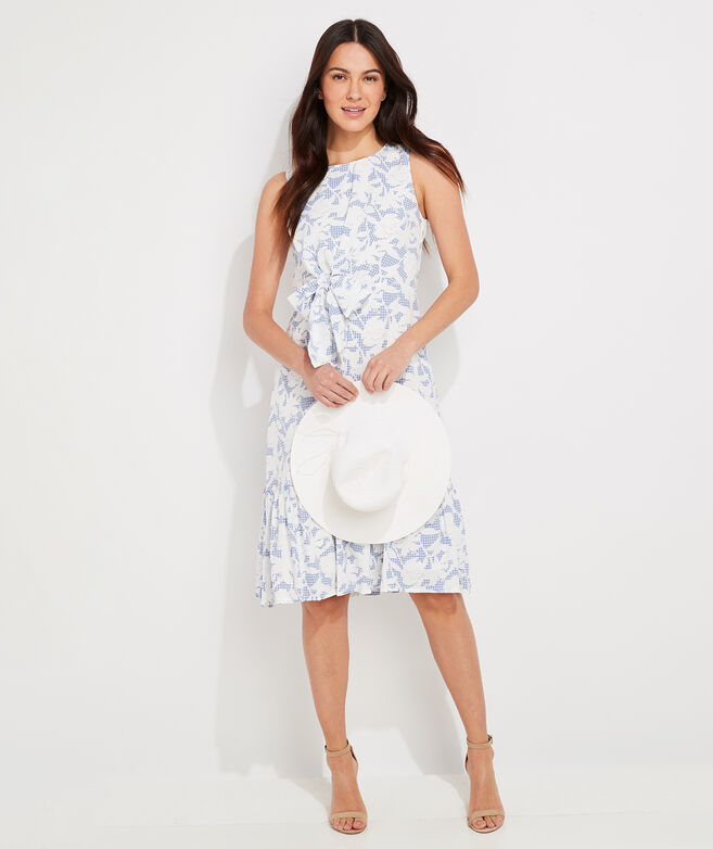 Kentucky Derby Floral Gingham Side-Tie Dress