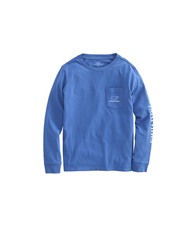 Boys Long-Sleeve Two Tone Vintage Whale Pocket T-Shirt