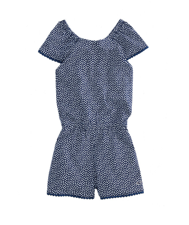 Girls Dot Print Tie-Back Knit Romper