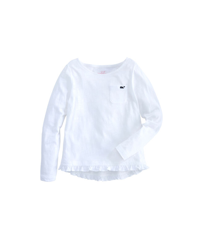 Girls Long-Sleeve Ruffle Knit Top
