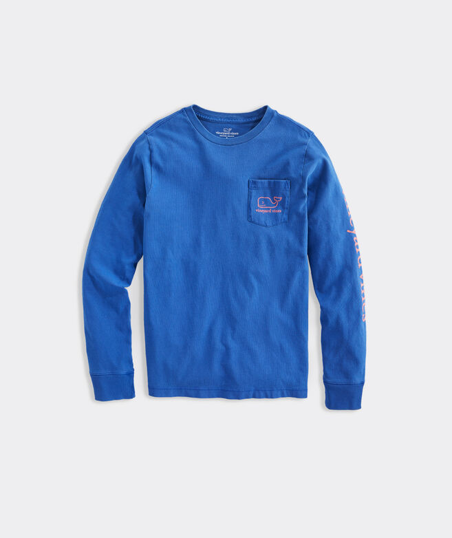 Boys' Garment-Dyed Vintage Whale Long-Sleeve Pocket Tee