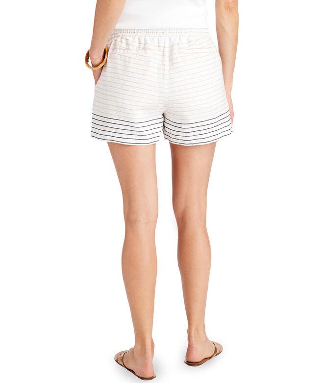 Lurex Stripe Pull-On Linen Shorts