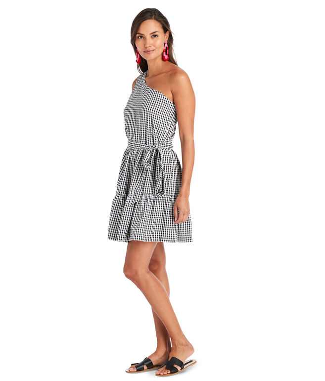 Gingham Seersucker One Shoulder Dress